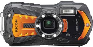 rugged adventureproof compact cameras Ricoh-WG-70-orange-front